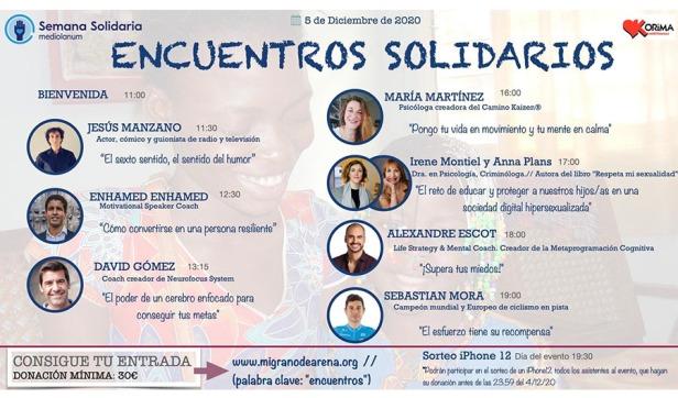 Cartell de la trobada de caràcter social al marc benèfic de les conferències englobades en Encuentros Solidarios