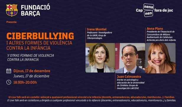 Cartell de Live Talk organitzada per la Fundació Barça en la qual participen Anna Plans i Irene Montiel